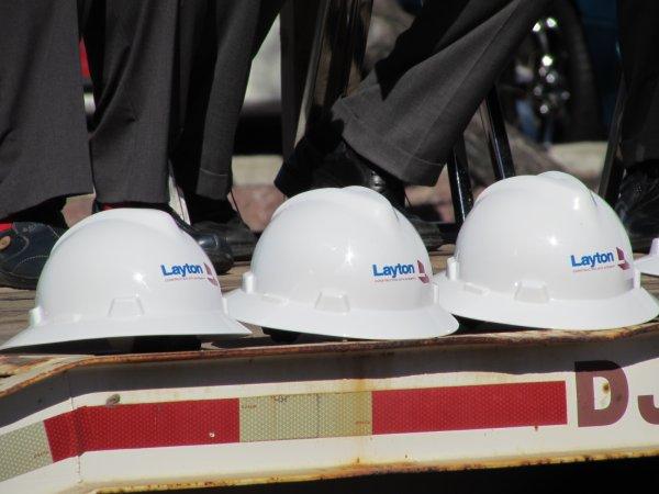 Layton Construction helmets. Photo Credit: Sean Cram.